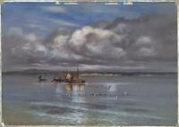 CHARLES J. BULGIN Watercolour Painting BOATS AT SEA - 20TH CENTURY - SEASCAPE