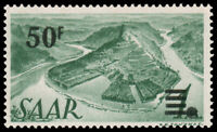 Saar #187a MNH CV€200 Mi 238 Z I 1947 50fr ON 1m GRAY GREEN PRINTING I
