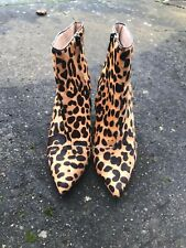 Office Leopard Print Block Heel Leather Ankle Boots Size 3 Euro 36 B21