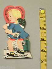 Vtg Valentine Card Little Girl Chewing Gum Package Think of You Every Chew 40's