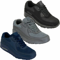 Mens Bubble Trainers Lace Up Running Shoes Mesh Jogging Sports Gym Casual New
