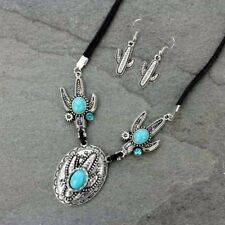 Western Cactus Silver Turquoise Necklace Set