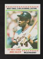1978 Topps #3 Willie McCovey card, San Francisco Giants HOF
