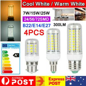 4PCS LED Corn Bulb E27 E14 B22 7W 12W 15W 20W 25W 5730SMD Globe Lamp Spot Light