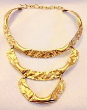Vintage Gold Chain Foil Hammered Bib Choker Collar Runway High End Necklace