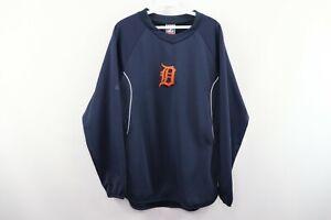 Majestic Mens Medium Therma Base Detroit Tigers Old English D Sweatshirt Blue