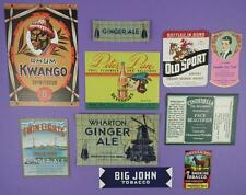 Selection of Original Old Unused Labels Lot A - Rum, Whiskey,Tobacco etc.