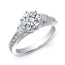 Ideal 1.80CtThree Stone Round Cut Diamond Engagement Ring G,VS2 Non Enhanced GIA