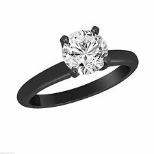 Solitaire Diamond Engagement Ring 14K Black Gold GIA Certified 0.50 Carat