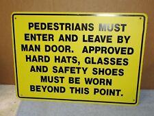 Vtg Pedestrians Hard Hat Safety Steel 20x14 Industrial Entry Sign Steampunk S513