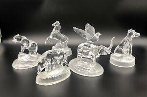 Lot 6 Crystal d'Arques Animal Figurines Bear Horse, Bird, Dog Elephant, Wild pig