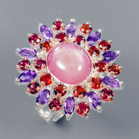 Star Ruby Ring Silver 925 Sterling Handmade Ring Size 7.5 /R135008