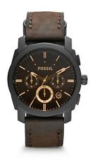 FOSSIL MEN'S 42MM BROWN LEATHER BAND STEEL CASE QUARTZ BLACK DIAL WATCH FS4656