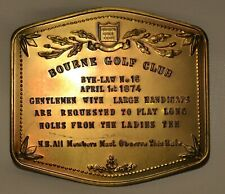 VICTORIAN STYLE PRESSED COPPER PLAQUE SIGN- BOURNE GOLF CLUB- LONG HOLES,MEMBERS