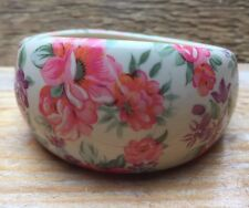 Chunky Vintage Style Floral Print Pink Bangle/Ditsy/Plastic/Kitsch/Retro/Boho