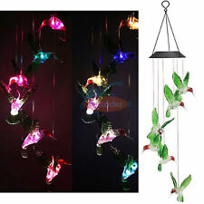 Colorful Waterproof Hummingbird Wind Chimes Solar power LED Garden Decor Light