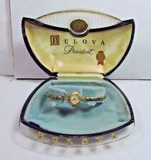 NOS Bulova President 1940's Womens' 14k Yellow Gold in Original Deco Box Working