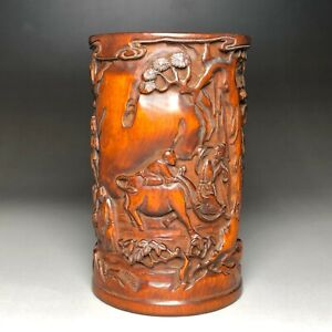 Collectible Boxwood carved exquisite relief pen holder / Brush pot
