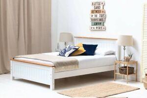 Modern White / Grey Oak Trim Wooden Bed Frame Single Double King Size    BSD