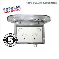 NEW Outdoor GPO Waterproof Double Power Point + Weatherproof Clear Lid Box Lock