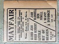M3-7a ephemera. 1941 dagenham advert mayfair joan blondell dick powell