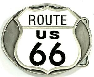 Route 66 US Highway Road Sign Silver Cowboy Western Siskiyou Belt Buckle