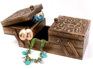 Sewing Box, Elephant, Jewellery Box, Storage, Handcarved Mango Wood, Fair Trade