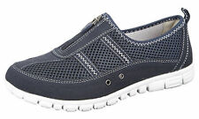 WOMENS EXTRA WIDE EEE FIT LEATHER LINED CASUAL SHOES TRAINERS SIZE 4 - 9 NAVY