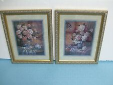 Homco / Home Interior-Set Of 2-Wall Pictures-A Vase Of Roses With Tablecloth