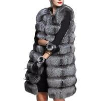 Damenmode Winter Faux Pelzweste Ärmellos Casual Flaumig Lange Jacke Plusgröße L