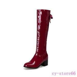 Womens Ladies Patent Leather Knee High Boots Zipper Block Heel Winter Shoes 2021