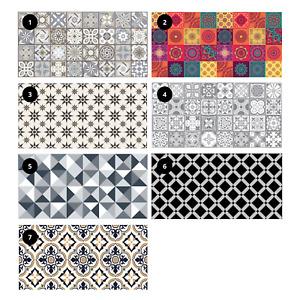Vinyl Floor Mat Tiles Pattern Non Slip Easy Clean Home Decoration 120 x 60cm