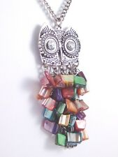 "Gorgeous New 34"" Long Owl Necklace With Multi-Colored Shell Dangles #N2216"