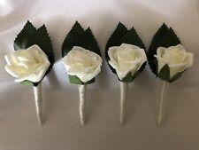 Ivory Foam Rose Grooms & Groomsmens Wedding Bridal Flower Set Of 4 Buttonholes