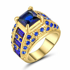 Size 6 Blue Sapphire Crystal Wedding Ring 10Kt Yellow Gold Filled Engagement