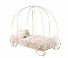 POWDER PINK CARRIAGE PRINCESS GIRL'S TWIN CANOPY BED BEDROOM FURNITURE