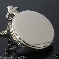 Silver Pocket Watch Necklace Rare Birthday Smooth Dad Husband Mens Gifts For Him