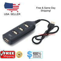 Black USB 2.0 Hi-Speed 4-Port Splitter Hub For PC Notebook High Speed Computer