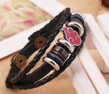 Japanese Anime Naruto Bracelet Leather Bangle Charms Handmade Fashion Gift