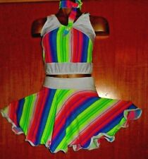 NEON Verde/Rosa/Bianco Lycra/Rock and Roll Costume di 12/13 anni