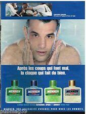 Publicité Advertising 2000 Après rasage Mennen avec Christophe lamaison