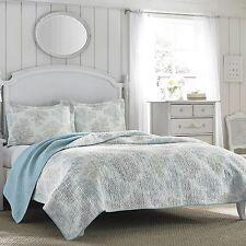 King Size Laura Ashley Blue/White 3 PC  Cotton Reversible Quilt,Bedspread Set
