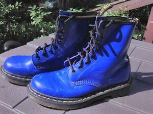 Doc  Dr. MARTENS 1460W Royal Blue Patent Leather Ankle Boots US 7 EU 38  UK 5