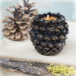NEW Silver Glitter Pine Cone Candle Holder Holiday Gifts, Lodge Cabin Home Decor