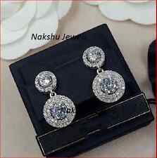 4 CT Off White Moissanite Double Halo Unique Stud Earrings 925 Sterling Silver