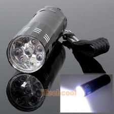 New Mini Flashlight 9 LED Small Hand Torch Black