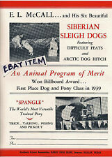 1940 SIBERIAN SLEIGH trick DOG pony horse POSTER circus E L McCALL sLeigh FLYER
