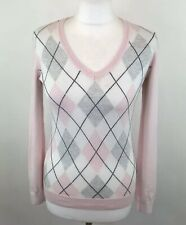 Tommy Hilfiger Pink Argyle Diamond Print Jumper V Neck Sz XS