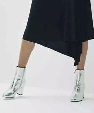 Lovely New Osman Silver Grey Leather Boots Sz 38 EU 5 UK Valentine Party Wedding