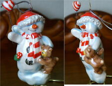 Pearl Ceramic Snowman with Teddy Bear and Balloon Christmas Ornament – NEW!